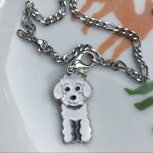Jewelry - White poodle clip charm- stainless steel bracelet